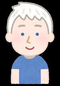 アルビノの男性のイラスト(青い目)