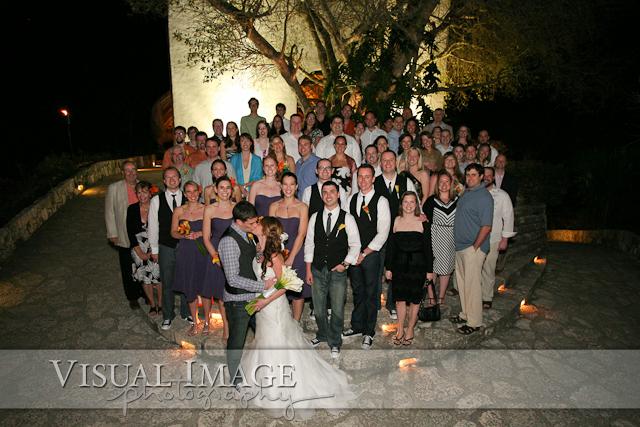 Mob shot of all wedding guests at Xcaret Resort in Playa del Carmen