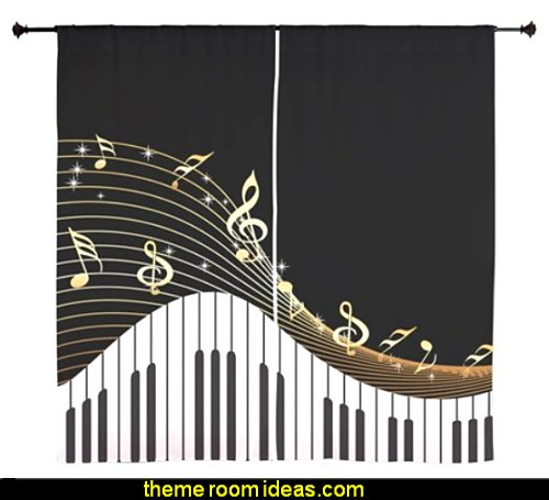 Ivory Keys Piano Music Curtains