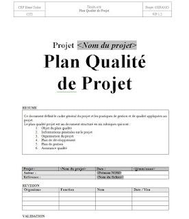 Exemple de modèle de plan de qualité pour un projet BTP en format word doc.  Ce document définit le cadre général du projet et les pratiques de gestion et de qualité appliquées au projet. Le plan qualité projet est un document structuré en six rubriques qui sont : 1.      Objet du plan qualité 2.      Informations générales sur le projet 3.      Organisation du projet 4.      Plan de développement 5.      Plan de gestion 6.   Assurance qualité