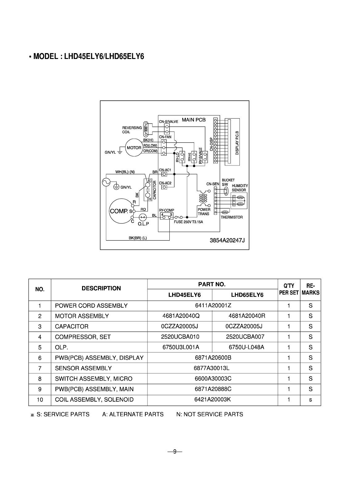 LG  DEHUMIDIFIER _ GHD30_LHD45ELY6_LHD65ELY6_ WIRING DIAGRAM