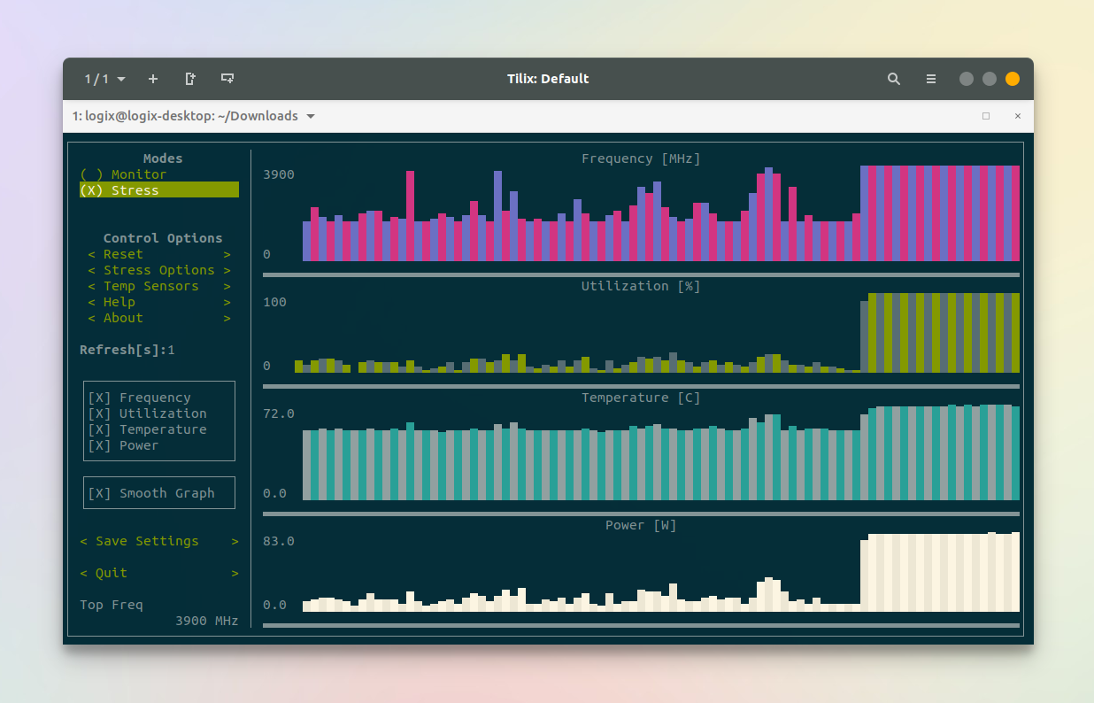 s-tui: CPU Monitoring And Stress Testing Console UI Tool