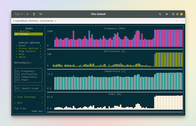 s-tui console ui for cpu monitoring and stress testing