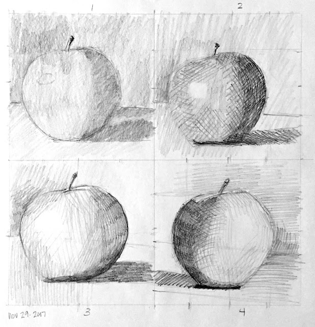 Daily Art 11-29-17 still life sketch in graphite number 38-41 - 10-minute apples