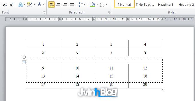 Cách chia đôi bảng, gộp bảng trong Word 2007, 2010, 2013, 2016