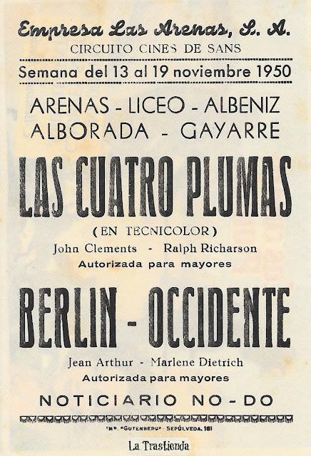 Las Cuatro Plumas - Programa de Cine - John Clements - June Duprez