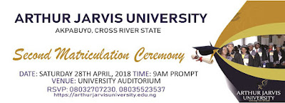 Arthur Jarvis University 2017/2018 Matriculation Ceremony Date Out