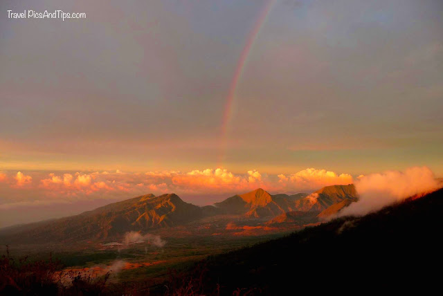 Rainbow, sunset, Trekking mount Rinjani Indonesia