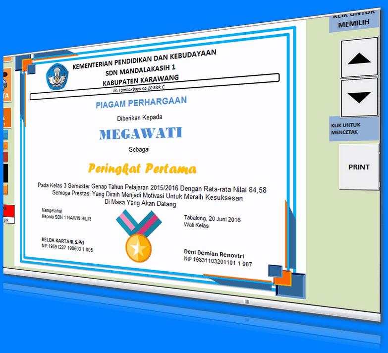 Aplikasi Cetak Piagam Penghargaan Lomba dan Prestasi Siswa dengan Miscrosoft Excel
