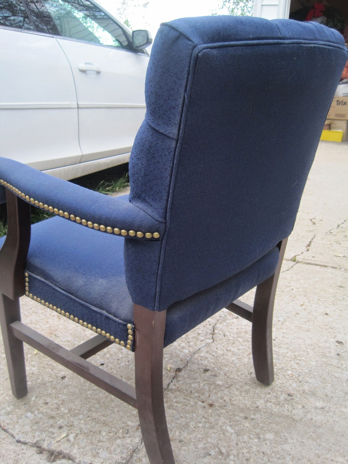 tufted blue chair best potty for boy decorated chaos with nail head trim