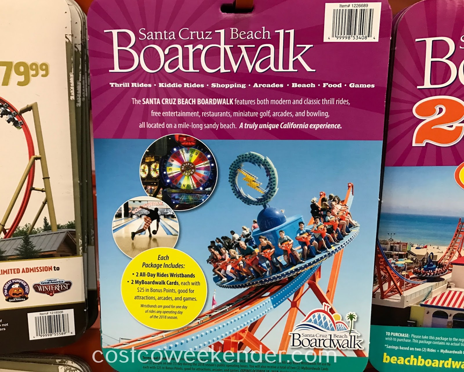 Costco 1226689 - Santa Cruz Beach Boardwalk 2018 Combo Pack: great for families and kids alike