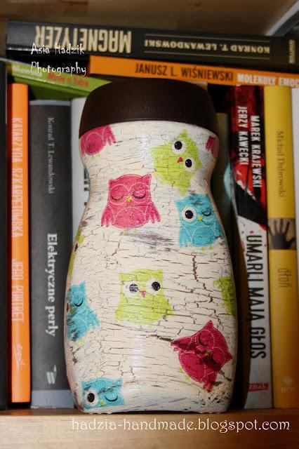 641. Słoik decoupage w kolorowe sowy;)