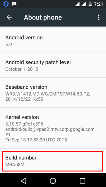 Buildd number Android 6.0 Marshmallow