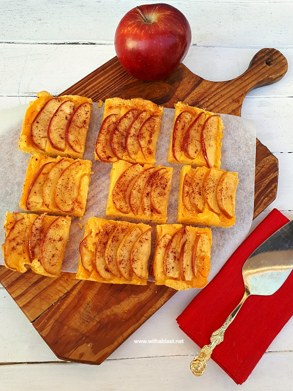 Cake bottom, creamy Custard filling & caramelized apple topping baked all at once