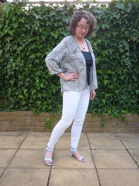 Blue Kimono and White Jeans