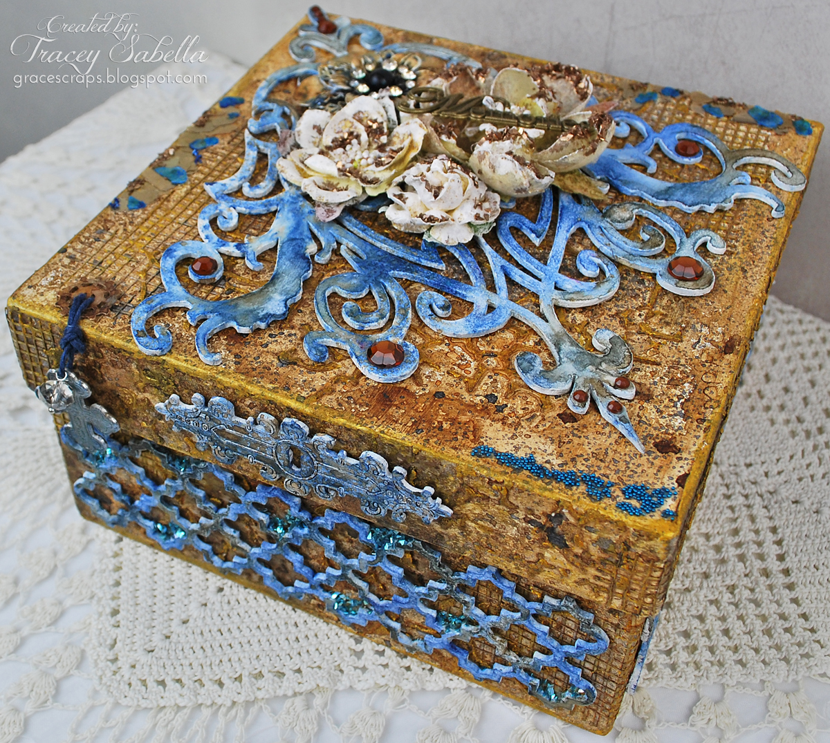 Mixed Media Blessings Box, Tracey Sabella, Leaky Shed Studio, Lindy's Stamp Gang, Prima, Helmar, Petaloo
