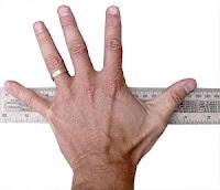 Bir cetvel üzerinde karış uzunluğunu ölçen birisi