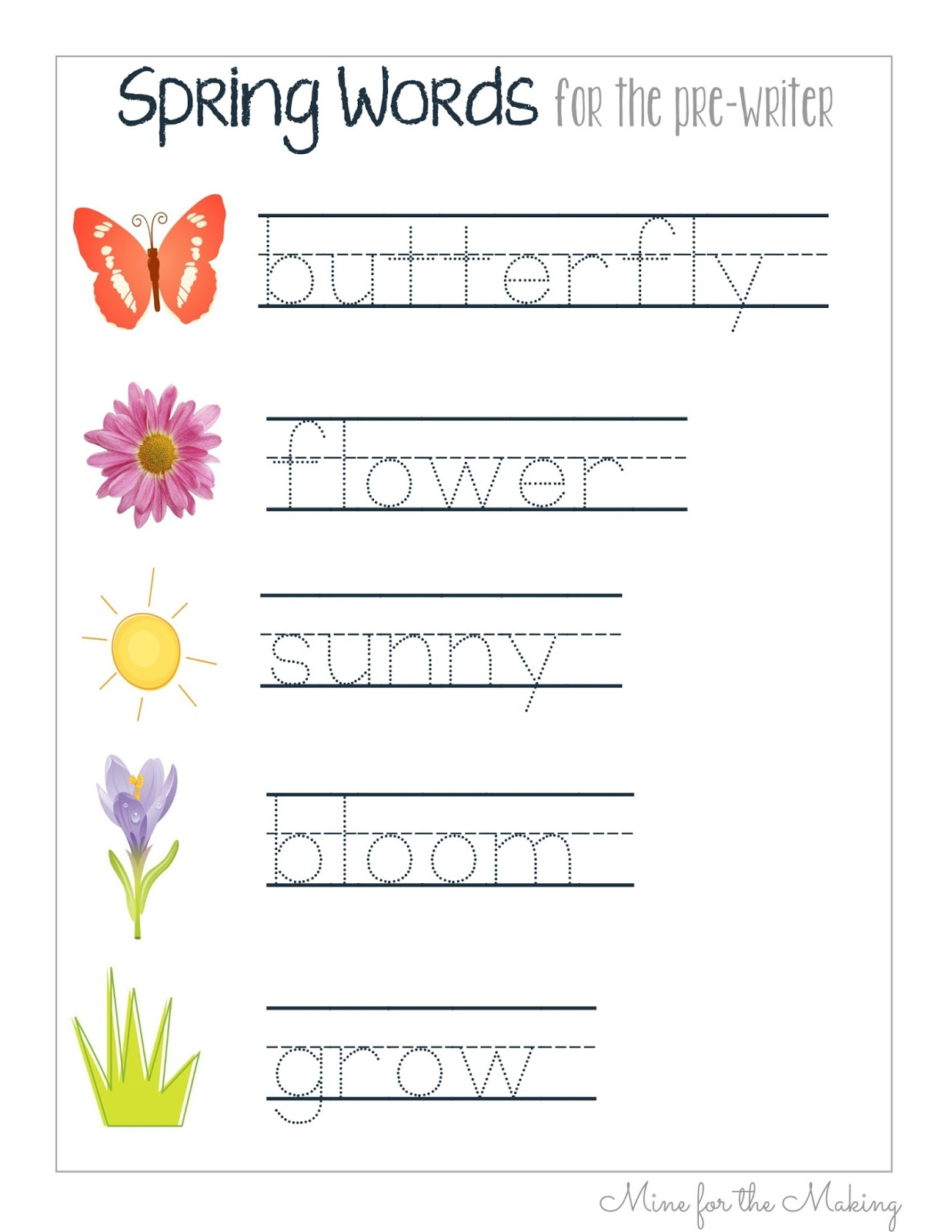 Tot School Tuesday Spring Pre Writing Prints Mine For