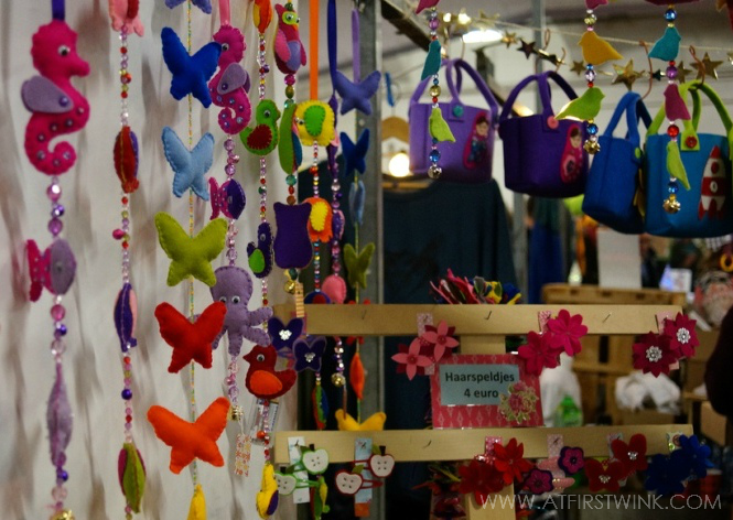 Cute felt decorations sold at the Swan market Rotterdam