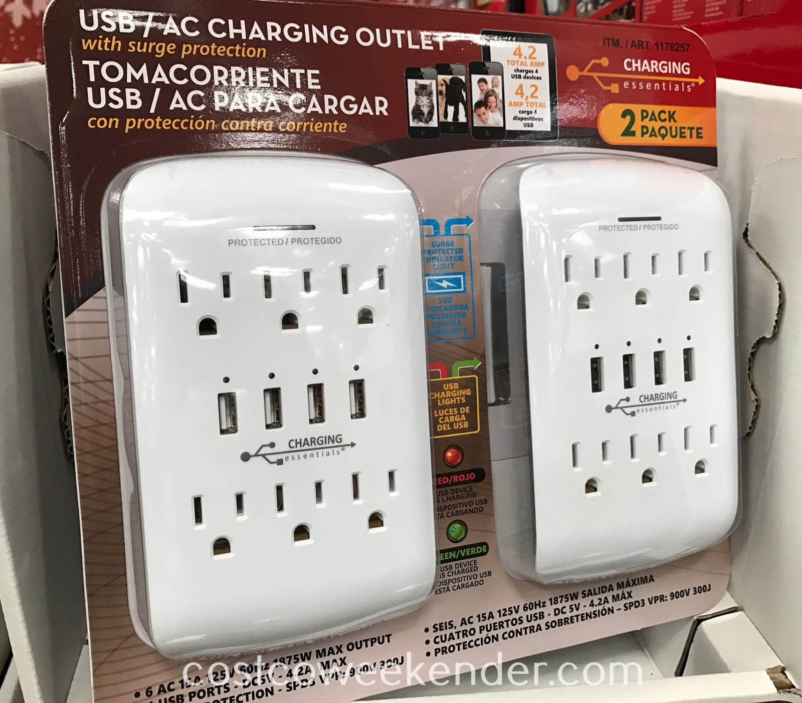 Easily charge your devices with the Charging Essentials USB AC Charging Outlet