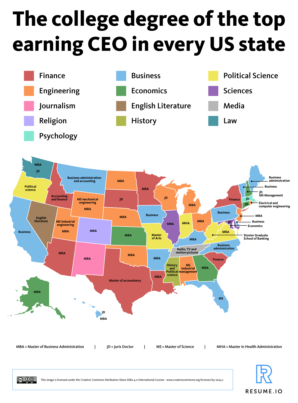 The College Degree of the Top‑earning CEO in Every State