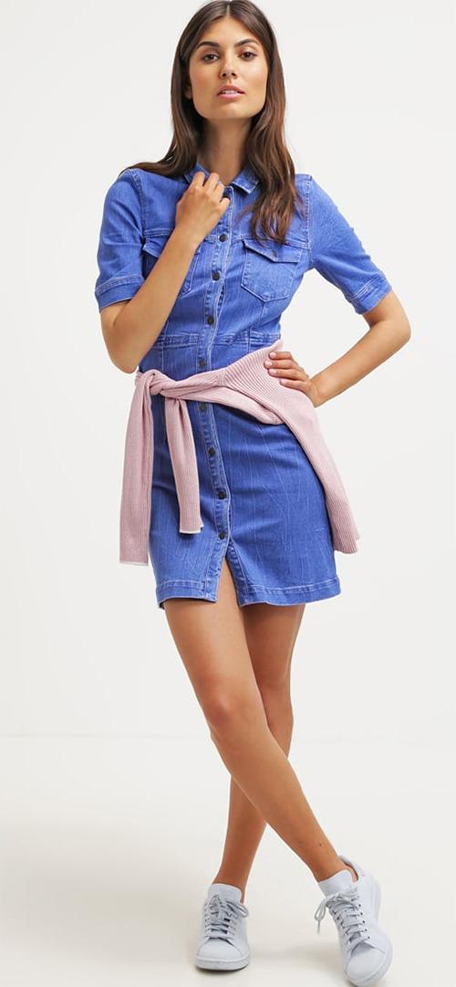 Robe courte d'été en jean bleu Vero Moda
