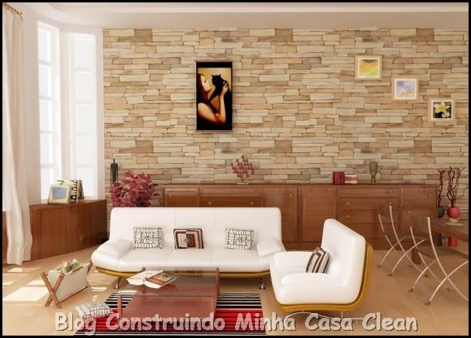 2e4190c52 Construindo Minha Casa Clean  Papel de Parede na Decoração! Confira ...