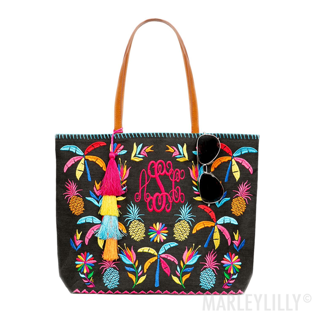 monogrammed colorful print tote bag