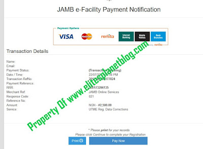 JAMB Change of Course/Institution Correction Payment Notification