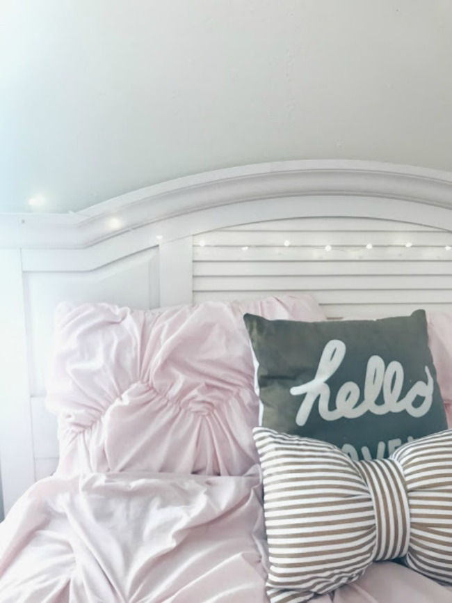 Blush Bedding And Fairy Lights