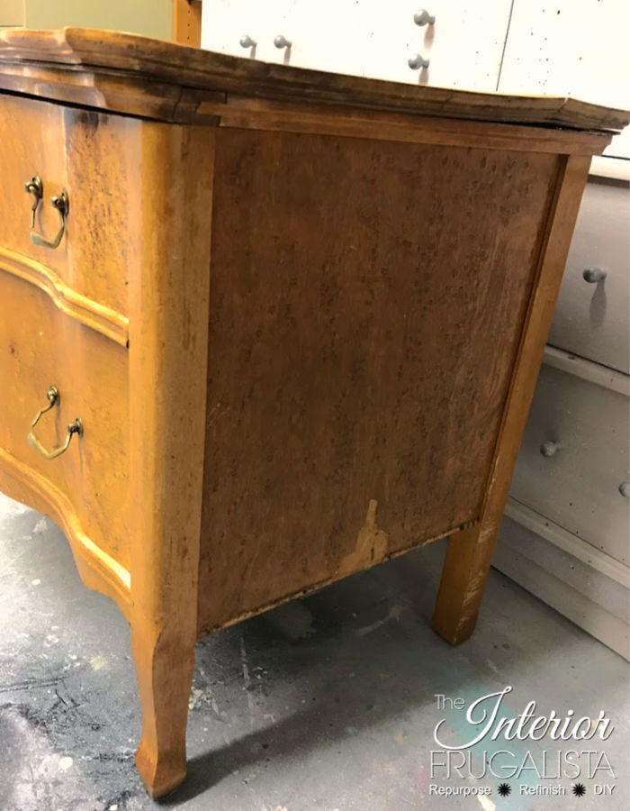 Serpentine Dresser Damaged Burled Veneer