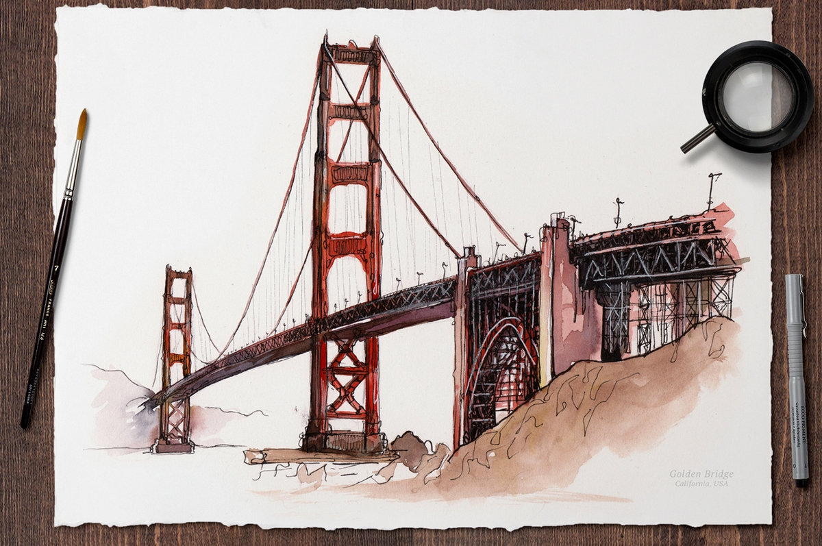 12-Golden-Gate-Bridge-US-Mucahit-Gayiran-Architectural-Landmarks-Watercolor-Paintings-www-designstack-co