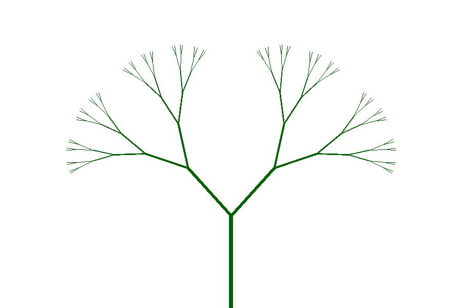 Erittäin symmetrinen haarautuva kuvio.