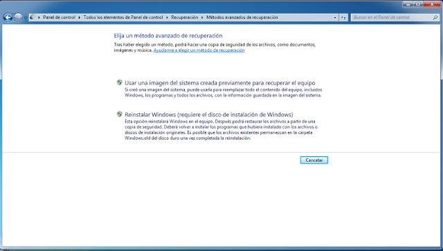 Restaurar Windows 7 a valores de fábrica