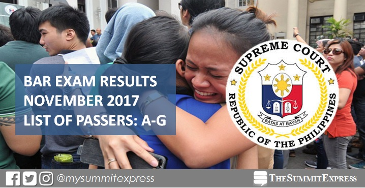 A-G List of Passers: 2017 Philippine Bar Exam Results