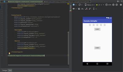 RatingBar diseño xml de nuestro tutorial