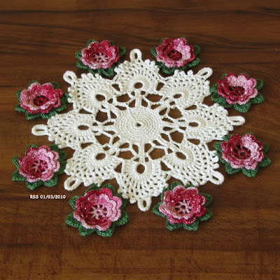 Red Garnet Silver 3D Flowers on Green - Cluny Lace Doily Hand-Crocheted by RSS Designs In Fiber - Sold