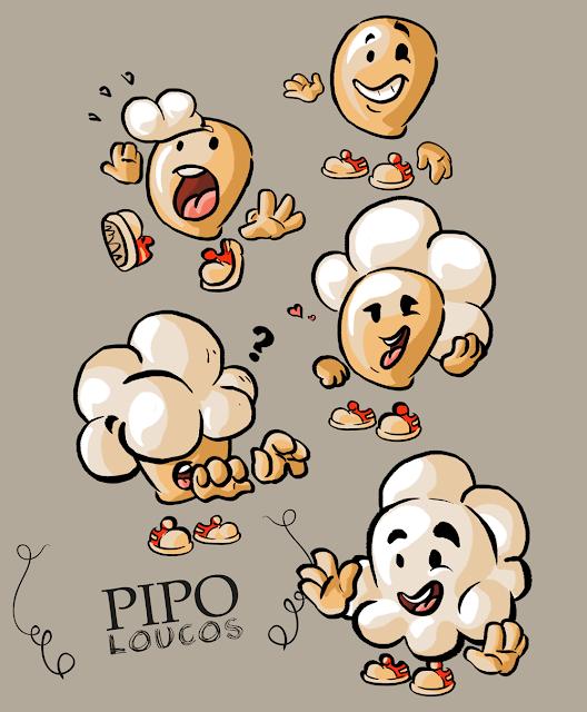 Ilustrações de Pipoquinhas para a Pipo Loucos
