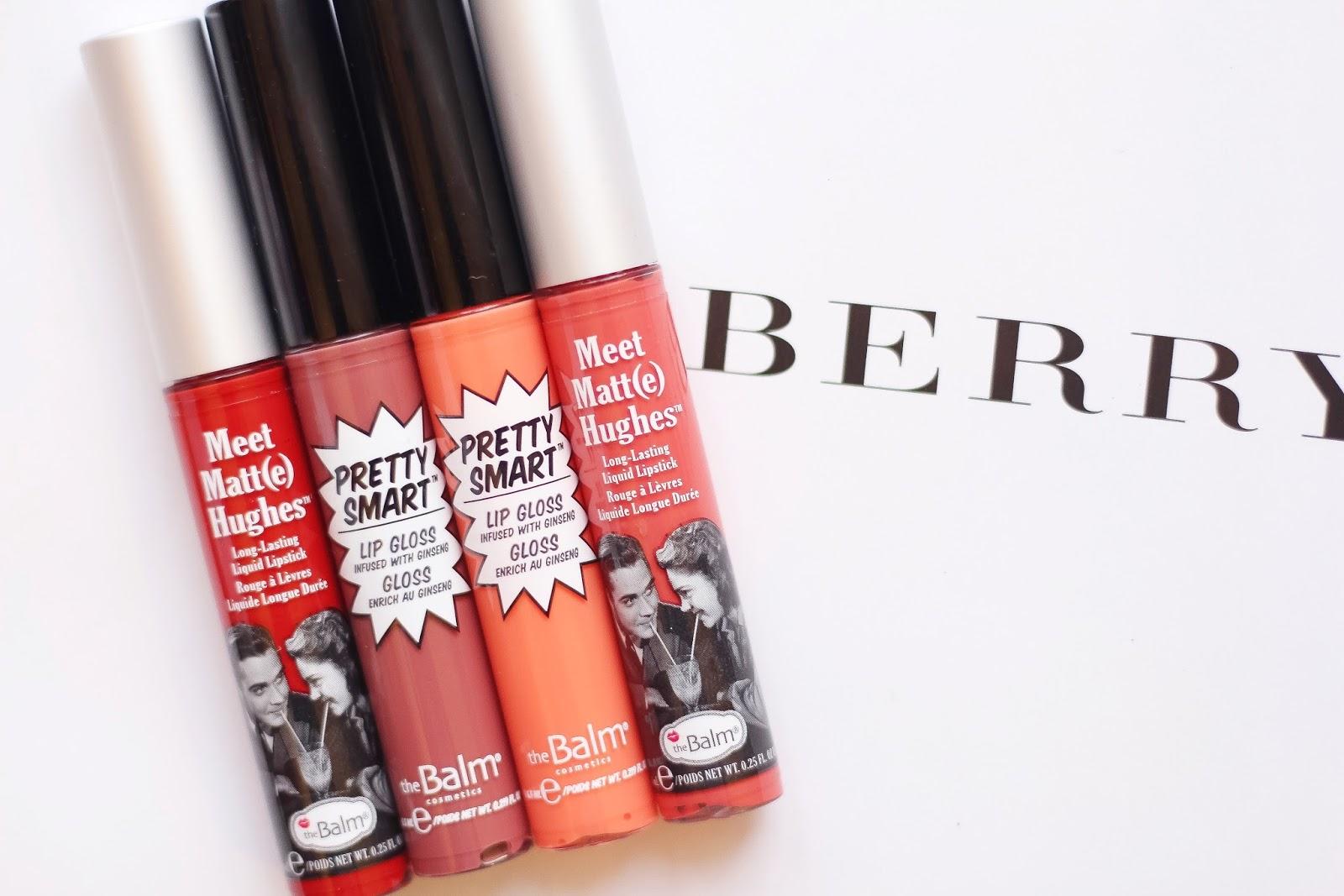 Meet Matte Hughes Liquid Lipsticks, Meet Matte, theBalm, theBalm Schwing, Manizer Sisters, Mary- Lou Manizer, Betty - Lou Manizer, Cindy-Lou Manizer, theBalm Pretty Smart lipgloss, theBalm Read My Lips lipgloss