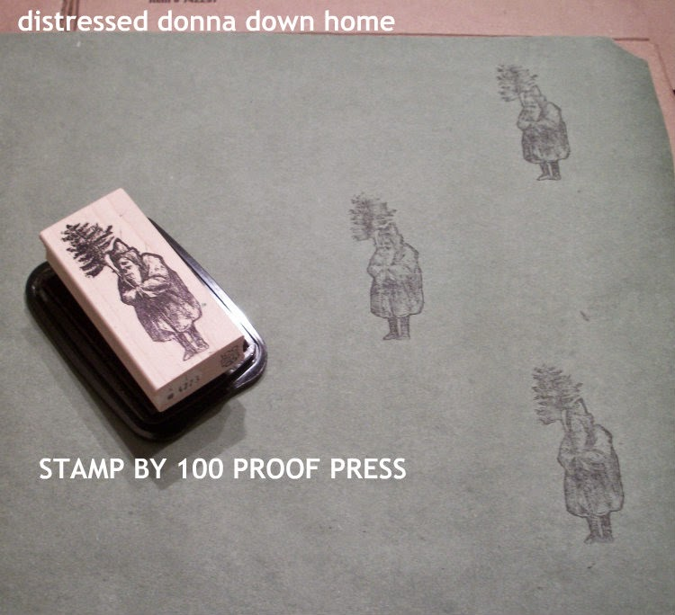 making vintage wrapping paper, 100 Proof Press stamps