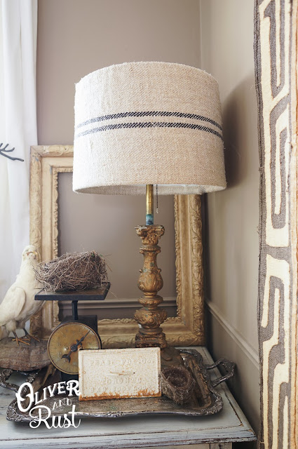 grain sack lamp shade