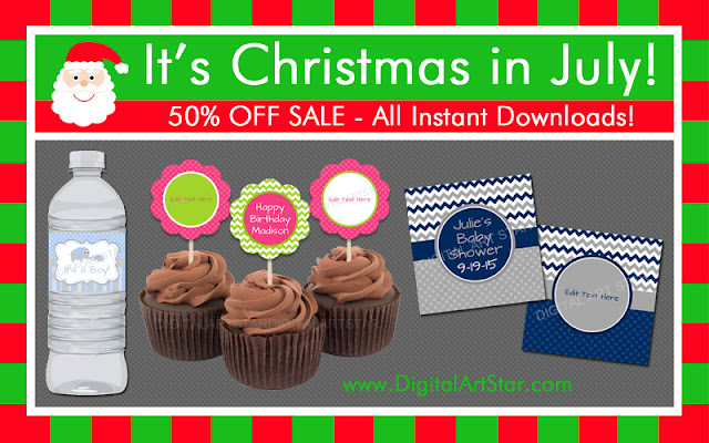 Christmas in July Sale - All instant downloads are 50% off with Digital Art Star
