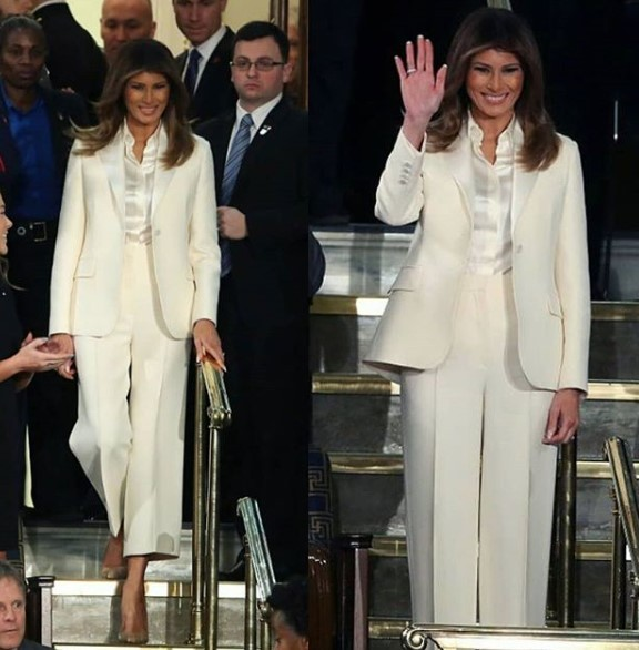 First lady, Melania Trump rocks white pantsuit to her husband's first State of the Union address