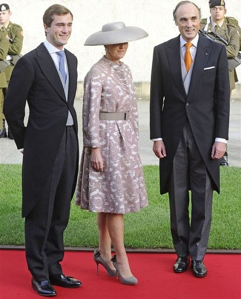 Princess Astrid, Prince Lorenz and Prince Amadeo attend the wedding ceremony of Prince Guillaume and Princess Stephanie