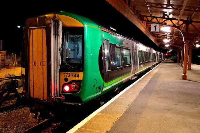 Night Photo of London Midland Trains Class 172 344 DMU in a bay platform at Leamington Spa railway station in 2016
