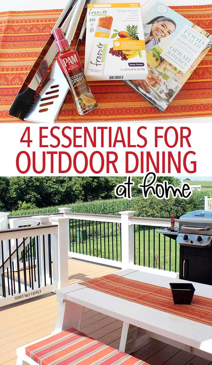 Easy outdoor dining tips and tools. Enjoy your next family dinner or summer party outside with these must have supplies - the best new accessories for grilling, healthy snacks, menu ideas, and so much more!