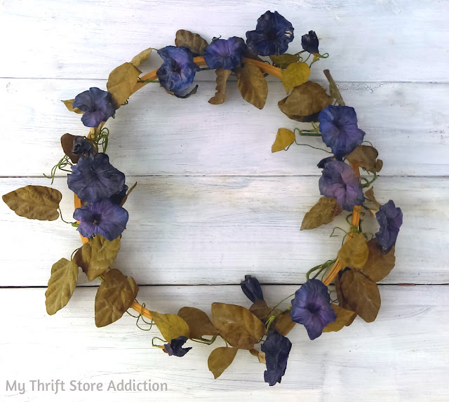 15 minute morning glory embroidery hoop wreath