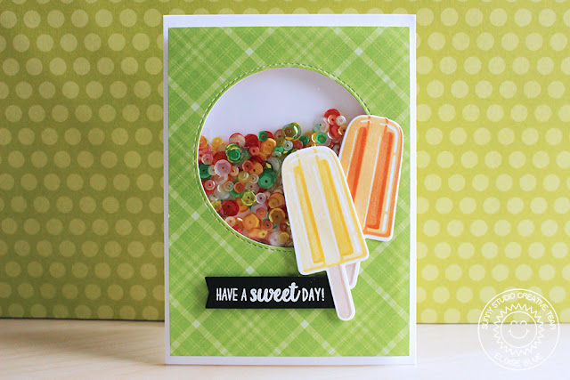 Sunny Studio Stamps: Perfect Popsicles Sherbert Colored Shaker Card by Eloise Blue