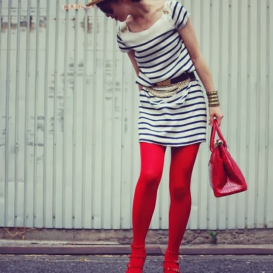 Contemporary Fashion: Would you try this trend. Red tights