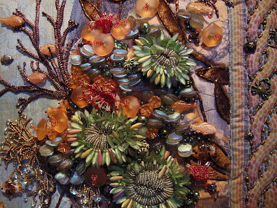 Thom Atkins, beaded quilt, Monterey Seascape, detail